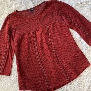 Lucky Brand Maroon Lace Quarter Sleeve Blouse